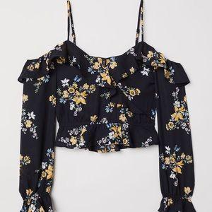 Open shoulder black floral crop blouse
